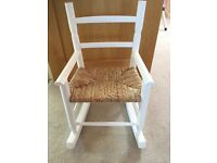 Childrens White painted / wicker rocking chair