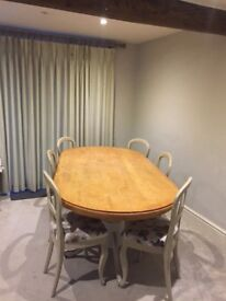 7ft Oak top dining table and six chairs,