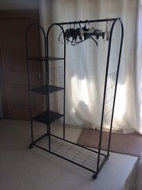 Black Clothes Rail with Shelves and Wheels