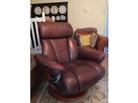 Leather reclining Swivel Armchair