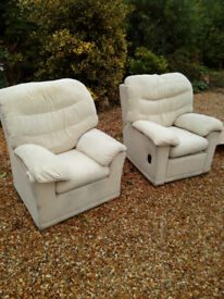 Gplan 3 piece suite-3 seater sofa,chair and manual recliner beige.