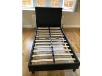 Black Faux Leather Single Bed Frame