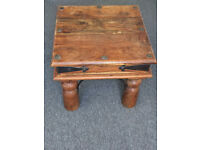 "Solid Wood Rustic Sheesham Indian ""Jali"" small square Table. £30 Ladbroke Grove area. area."