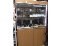 Glass display cabinet for shop retail Beech wood with lockable doors and storage jewellery