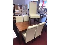 Walnut Table and 5 Strong Cream Leather Srollback chairs
