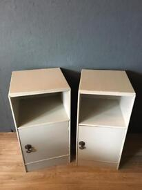 Pair of Light Grey Side Tables/ Cabinet