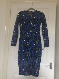 Pretty Little Thing BRAND NEW Blue Embroidered Floral Lace Sheer Midi Dress