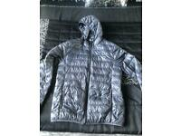Men's grey EA7 puffer jacket, size LARGE