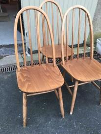Set of 4 Ercol style dining kitchen chairs