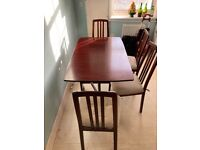 Hardwood drop leaf table & 4 chairs.