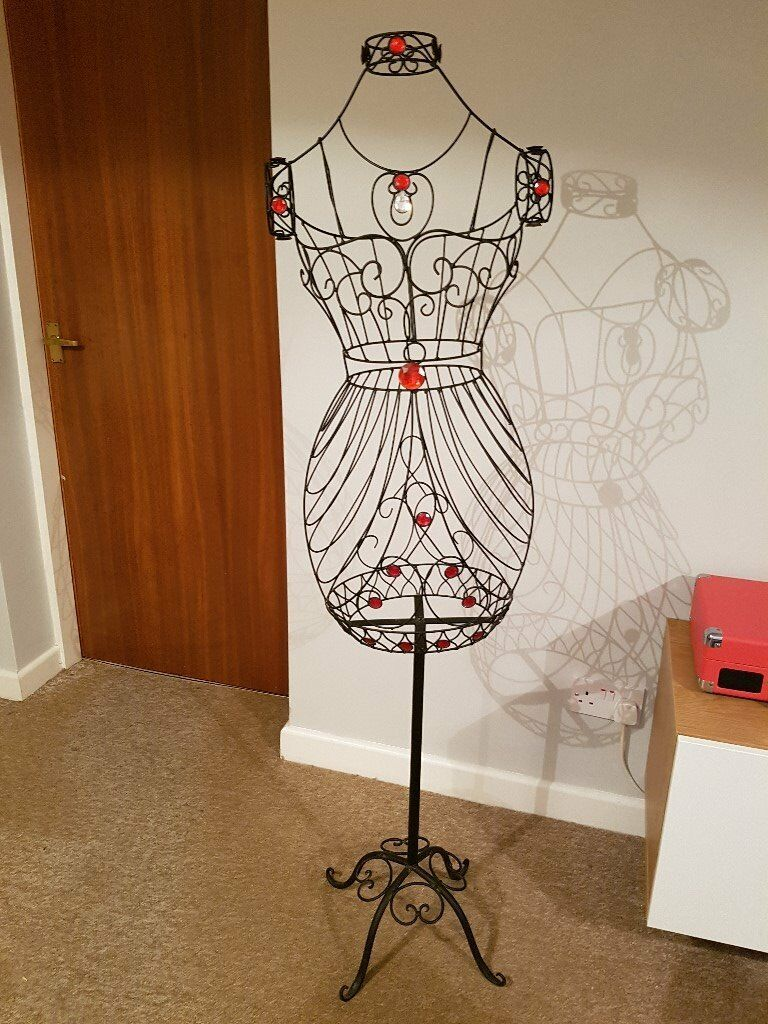 Vintage style black wire frame and red faux jewel mannequin | in ...