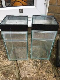 Good condition. Used 2 x glass terrarium 15cm x 15cm x 30xcm