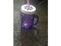 Purple mason jar keep calm and party on with straw