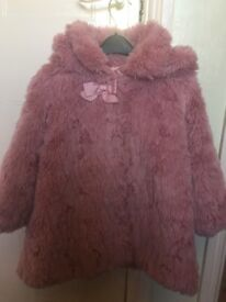 Girls Pink Fur Coat 2-3 years