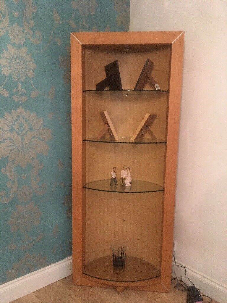 Beautiful Arched Back Wall Unit With Glass Shelves And Lights System