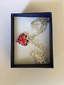 AVON Sterling Silver Union Flag Charm Bracelet in Box