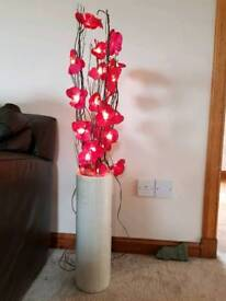 Tall floor vase and pink light up flowers