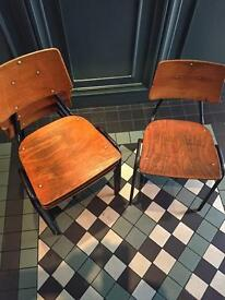 Vintage stacking school cafe chairs