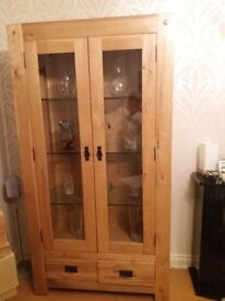 Beautiful oak display cabinet for sale