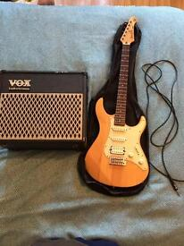 Yamaha Pacifica Electric Guitar and Vox Amp