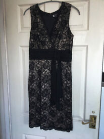 Black Cocktail Party Dress - size 8 -10 Black Lace and above waist Sash - Lovely Little Black Dress