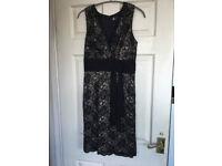 Black Cocktail Party Dress - size 8 -10 Black Lace and above waist Sash - Lovely Little Black Dress