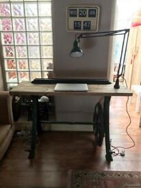 Stunning handmade vintage industrial lathe desk/breakfast barbiturates angle poise lamp