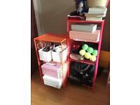 Metallic coloured shelves