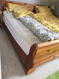 Emperor 7ft x 7ft pine antique stain sleigh bed