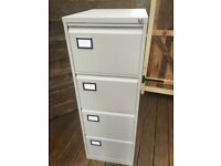 Strong grey metal filing cabinet with lock/key RRP £169, like new condition