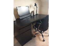 Black-Brown Wooden Desk from Ikea with Black & Chrome Computer Chair Very Good Condition