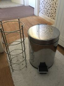 Pedal bin and toilet roll holder