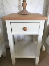 2 painted timber bedside tables