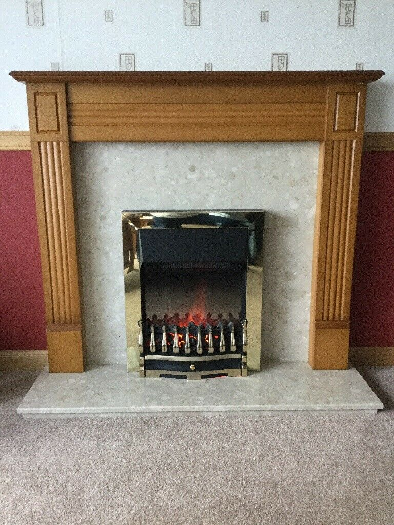 Wood and Marble effect fire place with electric fire, great condition and fully working