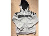 Boys Addidas grey and black zipper age 9-10