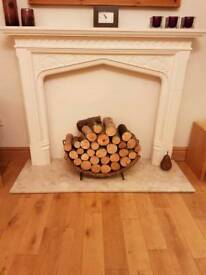 Stone effect fire surround, back panel and marble hearth for sale