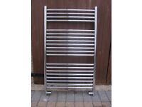 Chrome towel radiator 100cm x 60cm with chrome straight radiator valves