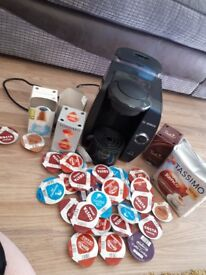 Tassimo complete with pods. coffee machine maker
