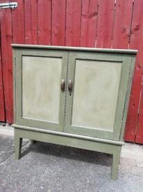 2 door Vintage cabinet hand painted Annie Sloan 'Olive' blend