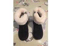 Infant Girls Genuine Ugg boots - brown size 7 and black size 9 - good and very good condition