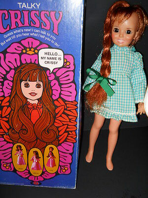 Vintage 1970 IDEAL TALKY CRISSY GROW RED HAIR DOLL WITH BOX TALKING WORKS