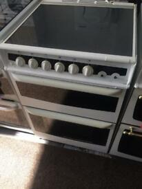 White ambassador 60cm gas cooker grill & double ovens good condition with guarantee