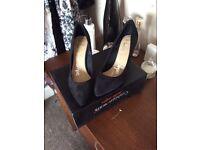 Suede black court shoes