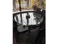 Glass dining table & chairs