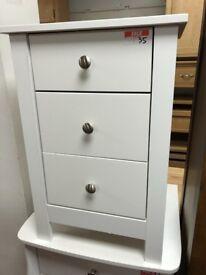 3 drawer bedside- white - metal handles