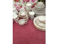 Afternoon tea china. Teacups, saucers and tea plates. Ideal for use at wedding.