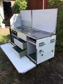 Stand alone camping kitchen suit camper / horsebox conversion, sink, hob and grill.