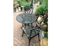 Metal garden table and 2 chairs 70 cm table all in perfect condition