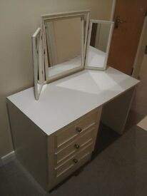 Bedroom furniture set (dressing table, mirror, and drawers)