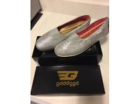 Golddigga silver flat shoes (SIZE 6)**brand new in box**